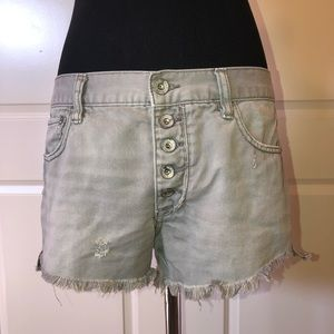 Free People Gray Distressed Frayed Hem Shorts